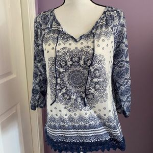 Christopher & Banks Boho style pullover shirt sz S